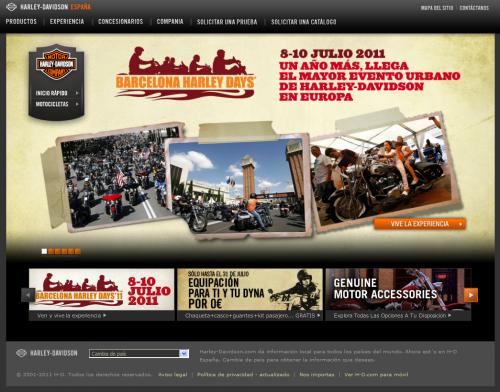 Versión estándar de la web de Harley Davidson (Mozilla Firefox)
