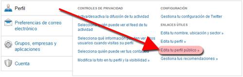 Editar configuración perfil empleado en LinkedIn