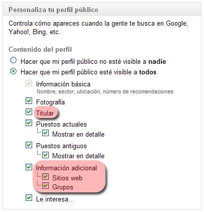 Editar configuración perfil empleado en LinkedIn: Hacer que mi perfil público esté visible a todos