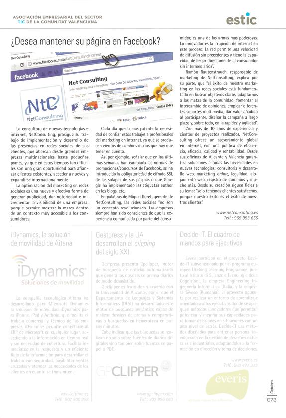 ¿Desea mantener su página en Facebook? en Economía 3 - Edición Octubre 2011 - página 73
