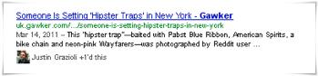 Resultado de búsqueda que incluye Google+ (fuente: How Google+ Affects the Hotelier's SEO Strategy)