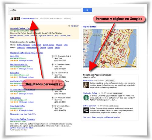 Resultados de búsqueda que incluyen resultados a la derecha de Google+ (fuente: How Google+ Affects the Hotelier's SEO Strategy)