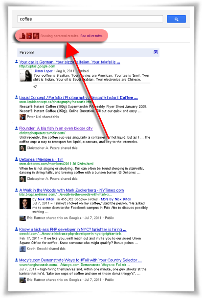 Resultados personalizados de Google+ (fuente: How Google+ Affects the Hotelier's SEO Strategy)