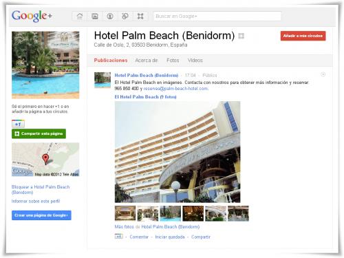 Hotel Palm Beach Benidorm en Google Plus