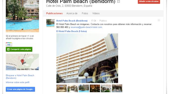 El hotel Palm Beach en Benidorm apuesta por Google+