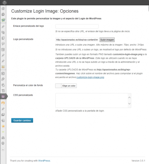 Customize Login Image WordPress Plugin: Screenshot