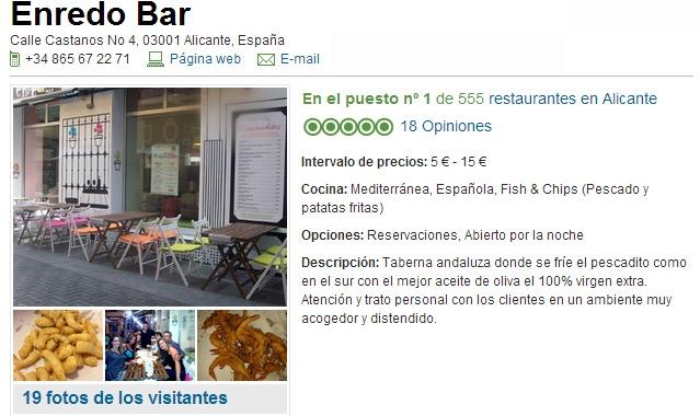 Mejor restaurante de 555 en Tripadvisor Alicante: Enredo Bar