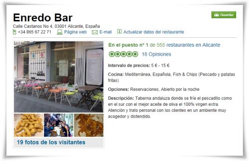 Enredo Bar: Número 1 en restaurante de Alicante en Tripadvisor