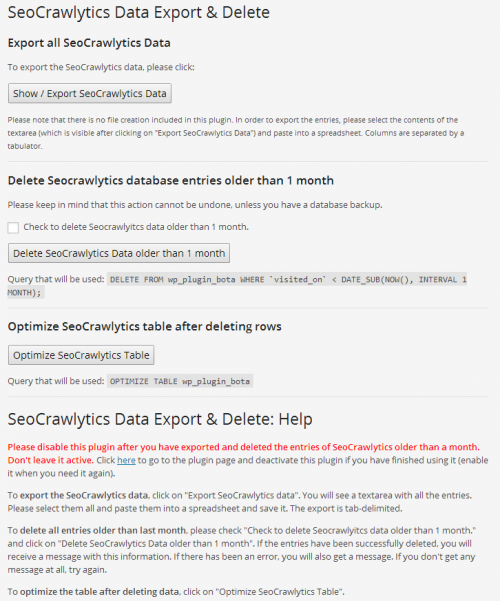 Seo Crawlytics Export Data Options