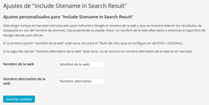 "Ajustes de ""Include Sitename in Search Results"""
