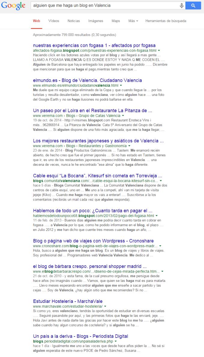 """Búsqueda en Google por: """"alguien que me haga un blog en Valencia"""" - 05 de diciembre de 2014"""