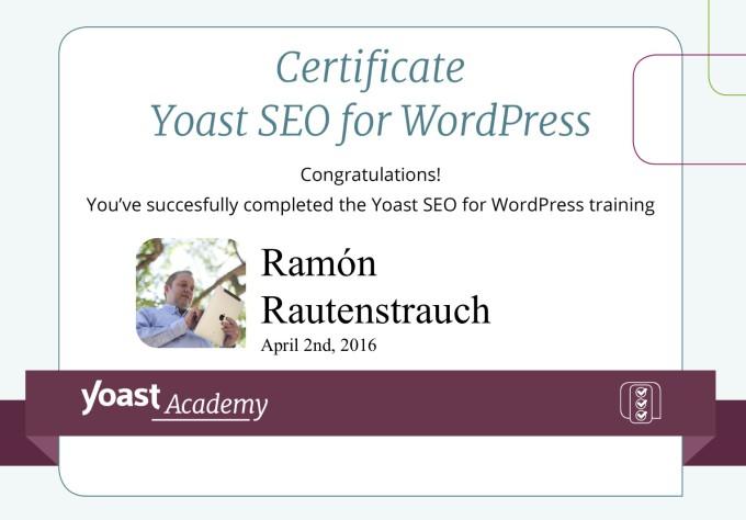 Certificado experto Yoast SEO - Ramón Rautenstrauch
