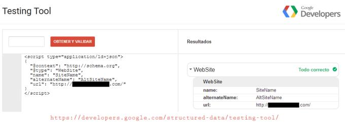 """Marcado de """"Include Sitename in Search Results"""" en el código fuente de la home"""
