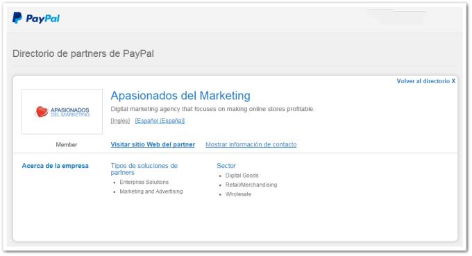 Directorio Partners PayPal: Apasionados