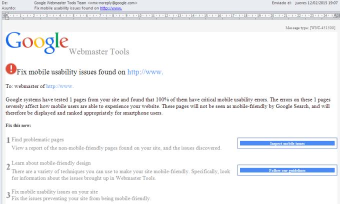 Email de Google Webmaster Tools para avisar sobre problemas en dispositivos móviles