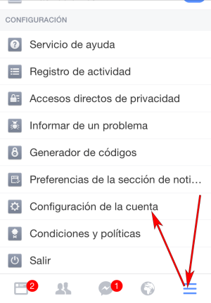Facebook - Aplicación IOS - Configuración cuenta 01