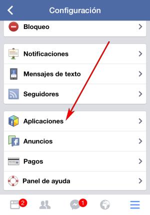 Facebook - Aplicación IOS - Configuración cuenta 02