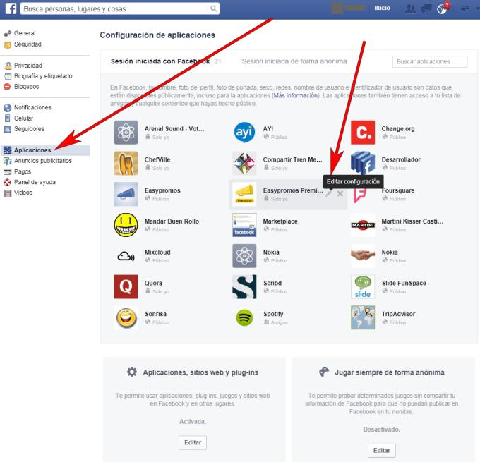 Facebook - Navegador web - Modificar Configuración 01