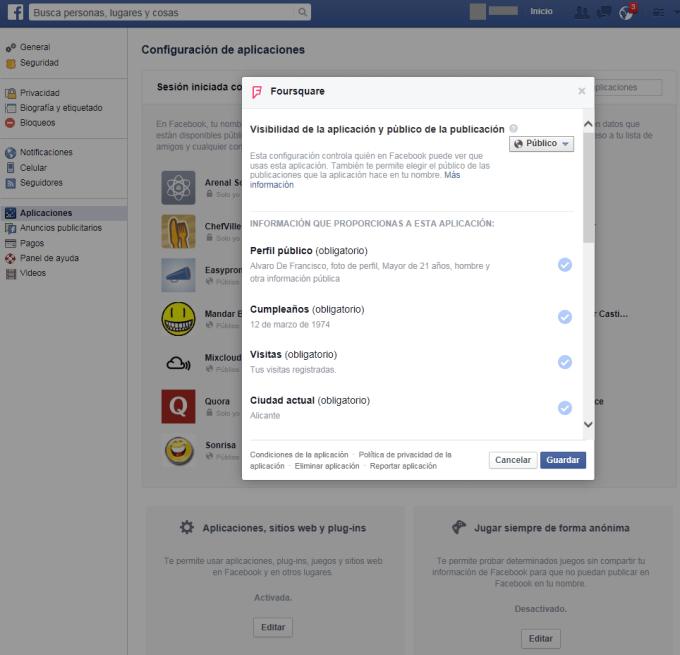 Facebook - Navegador web - Modificar Configuración 02
