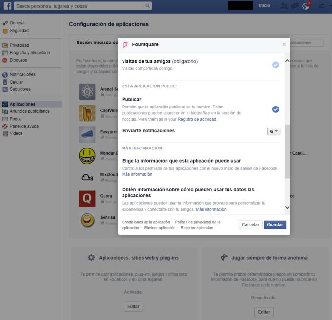 Facebook - Navegador web - Modificar Configuración 03