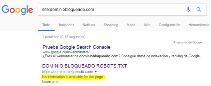 Google: Resulado en el buscador de un dominio bloqueado por robots.txt