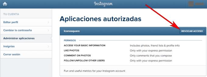 Instagram - Navegador web - Aplicaciones autorizadas
