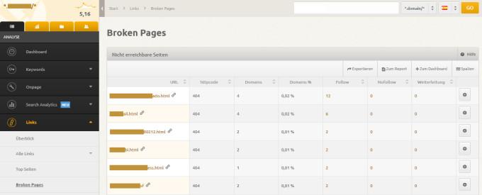 XOVI: Links / Broken Pages (Links / Páginas rotas)