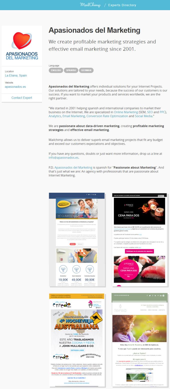 MailChimp Experts Directory: Apasionados del Marketing (La Eliana, Valencia, Spain)