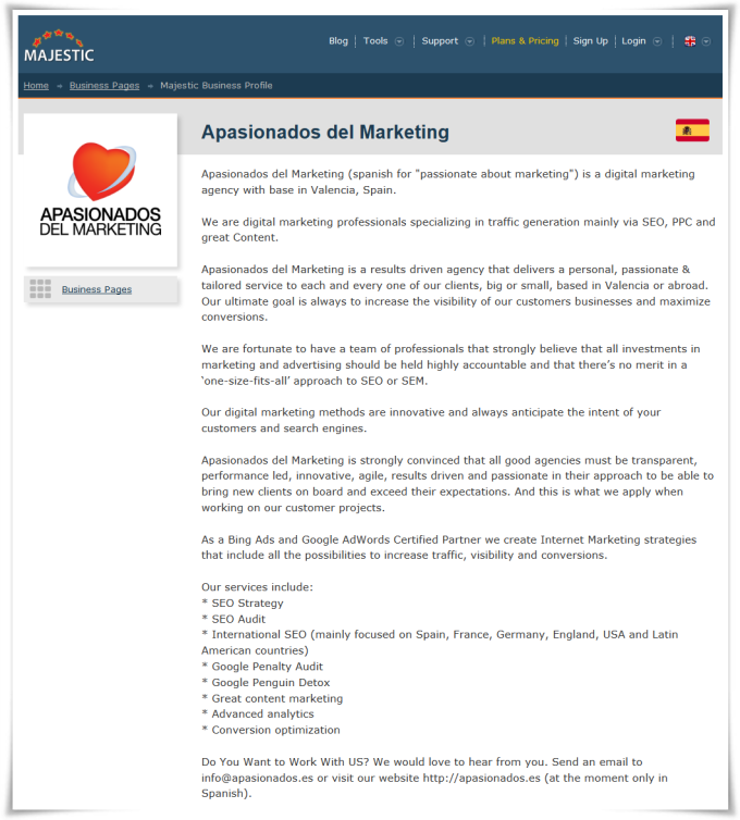 Majestic Business Profile page for Apasionados del Marketing