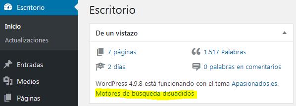Motores de búsqueda disuadidos - Escritorio de WordPress