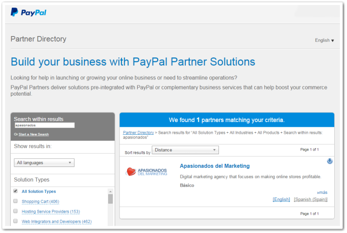 PayPal Partner Directory: Apasionados del Marketing