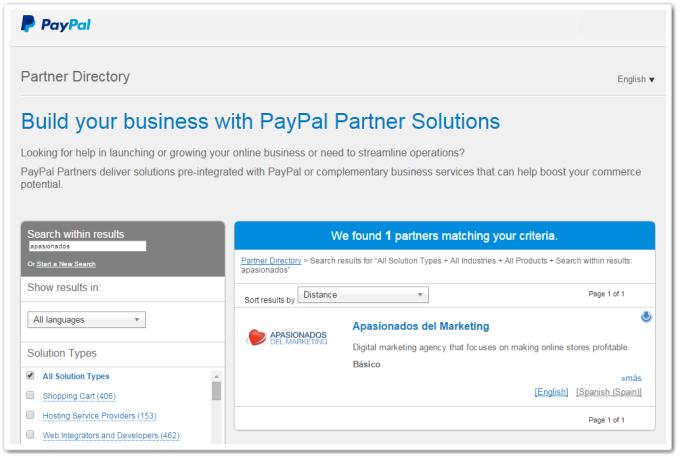 PayPal Partner Directory: Apasionados del Marketing
