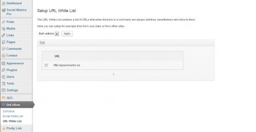 Lista blanca de URLs: Cada vez que una de estas URLs aparece en un comentario su enlace es follow.