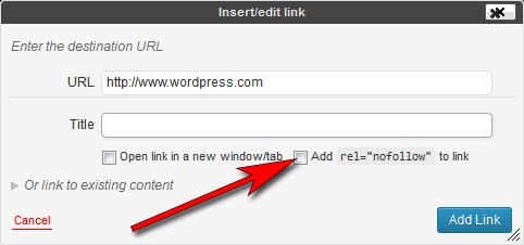 """Insertar un enlace en una entrada o página con atributo rel=""""nofollow"""""""