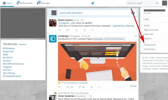 Twitter - Navegador web - Aplicaciones configuración 01