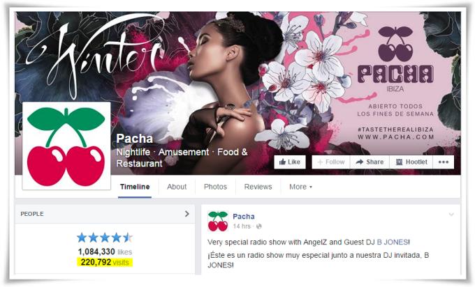 Visitas a Pachá (Ibiza) en la página de Facebook de Pachá